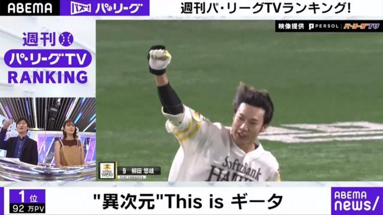柳田悠岐のスイングに稲村亜美さんもびっくり!「ABEMA バズ!パ・リーグ」でランキングをチェック!  - スポーツナビ