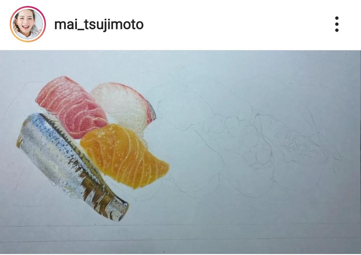 辻元舞が色鉛筆で描いた寿司を公開「信じられないくらい美しい」「トレーのキレイさにビックリ」 : スポーツ報知
