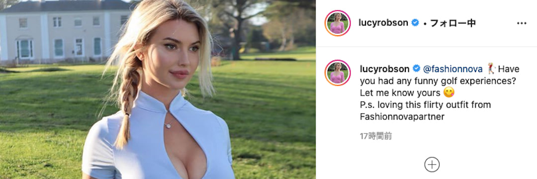 """""""胸開き&黒ミニスカ""""が世界で話題…イギリスの超人気美女ゴルファー「神ボディ」が圧巻すぎる(現代ビジネス編集部)   現代ビジネス   講談社"""