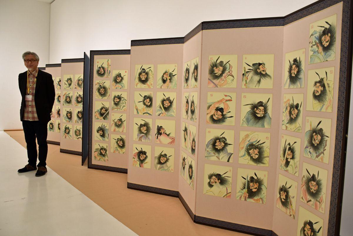 ねぶた師竹浪さんの「鍾馗百図」屏風完成