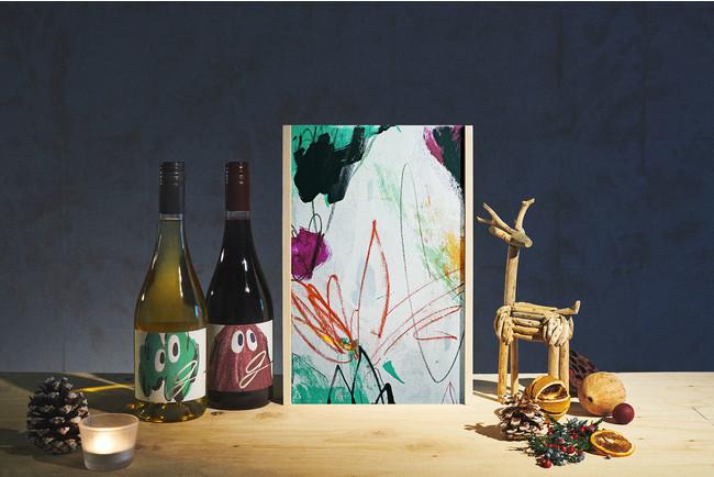 「0%」のノンアルコールワイン「g」から、アーティストDunkwellのオリジナルアートが描かれた世界にひとつだけのクリスマスギフトBOXが登場!60セット限定で抽選申込受付中。:時事ドットコム